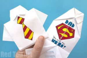 "Easy Origami Shirt card decorated as ""Super dad"""