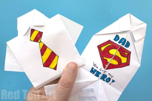 Easy Origami Shirt - Father's Day Card - You Are My Superhero Card for Kids. Love these easy Shirt Cards for Father's Day #origami #fathersday #superhero