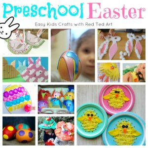 Collage of easter crafts for preschool