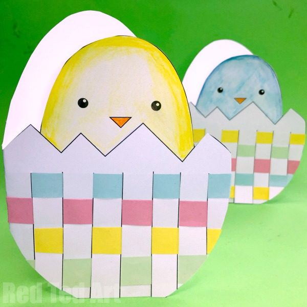 Easter Egg Paper Weaving cards for kids to make