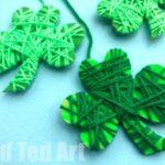 Yarn Wrapped Shamrock Craft for Preschoolers