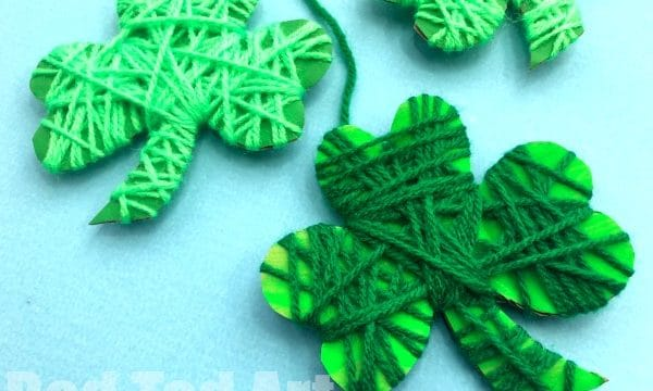 Yarn Wrapped Shamrock Craft for Preschoolers