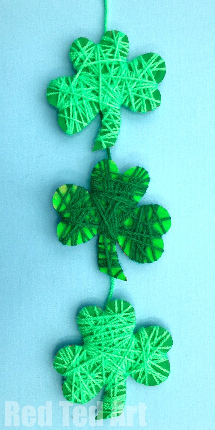 Yarn wrapped shamrock craft for preschoolers red ted arts blog yarn wrapped shamrock craft for preschoolers easy shamrock decoration for st patricks day love voltagebd Images