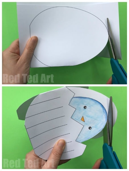 Easter Egg Card - cutting out with kids
