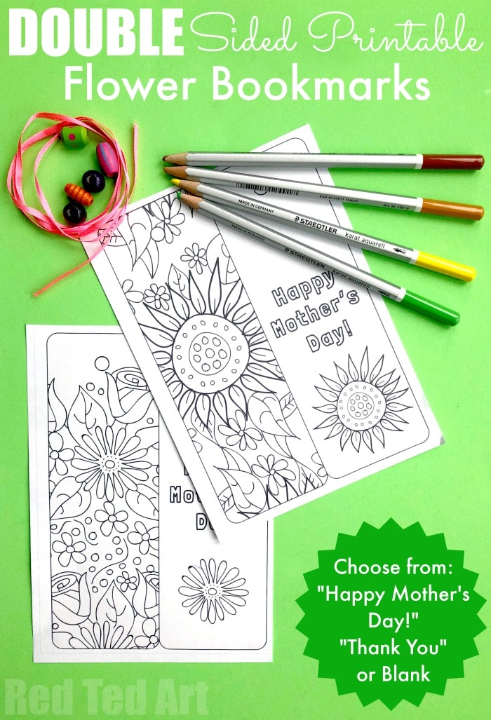 Printable Flower Bookmark - Red Ted Art - Make Crafting With Kids Easy & Fun