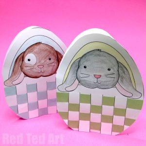Easter Bunny in Basket - paper weaving project