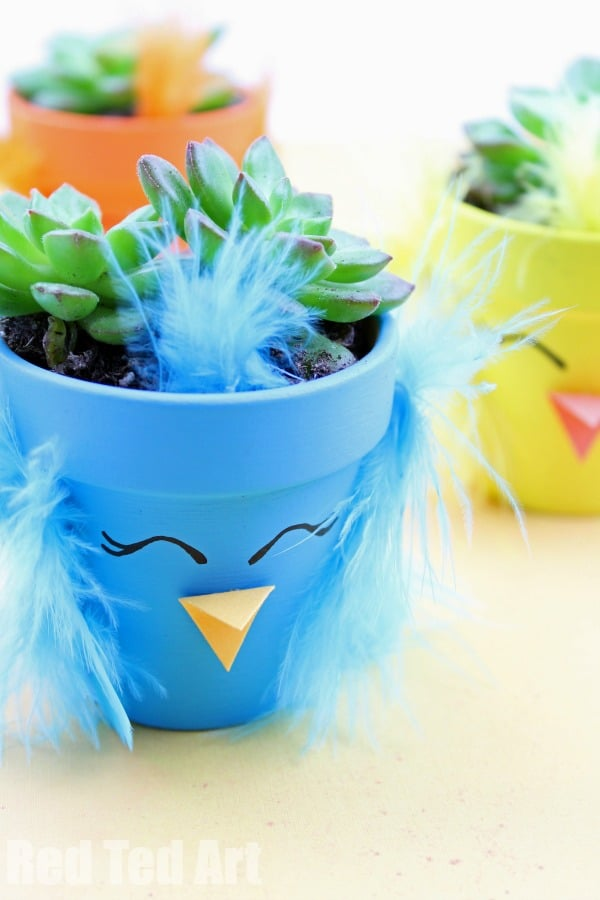 Spring Chick Planter DIY - how to make a succulent planter for Spring and Easter. Easter Decor Craft. Diy Easter Decor. Spring Chick DIY Planter #spring #easter #succulents #diyplanters #plantpot #giftideas