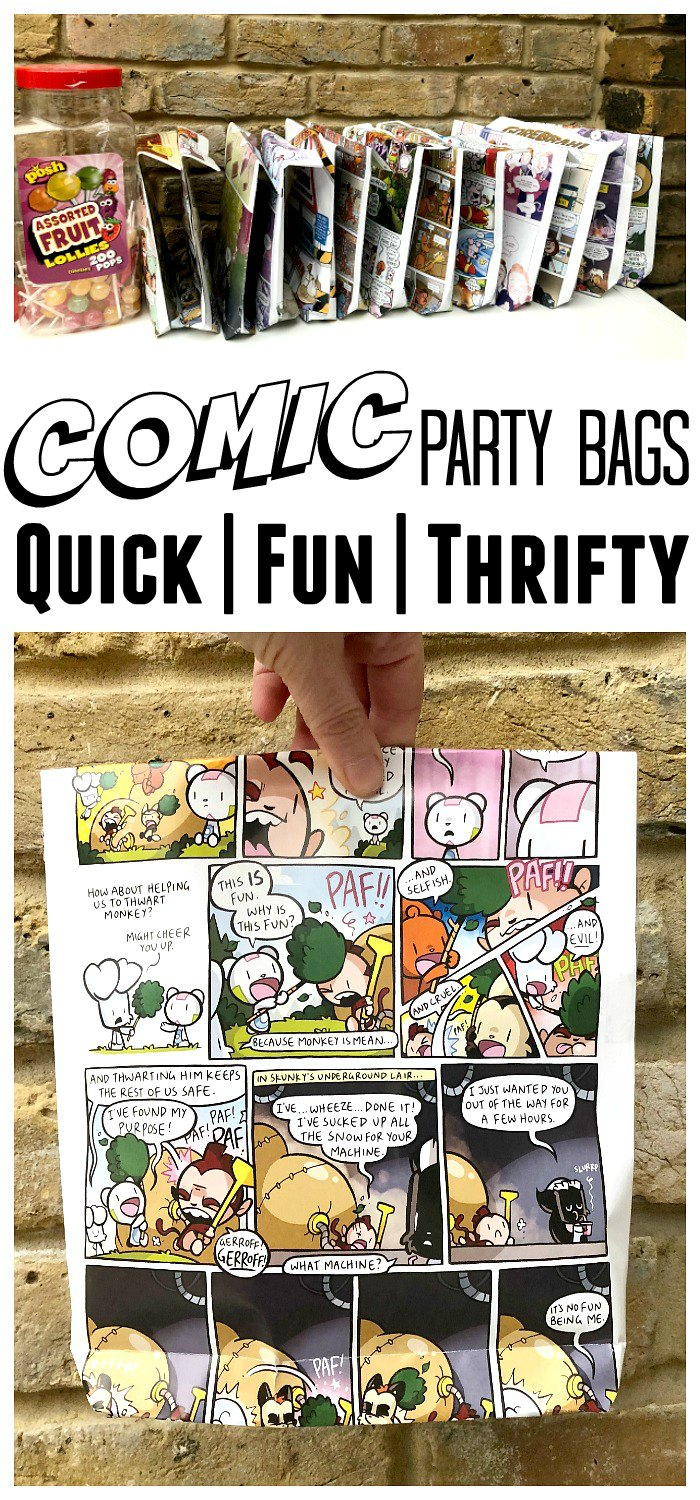 Comic Party Bags - easy diy party bags or comic gift bags. A great way to upcycle old comic magazines into funky party bags for kids. Great for Cosplay parties too #partybags #cosplay #comics #recycle