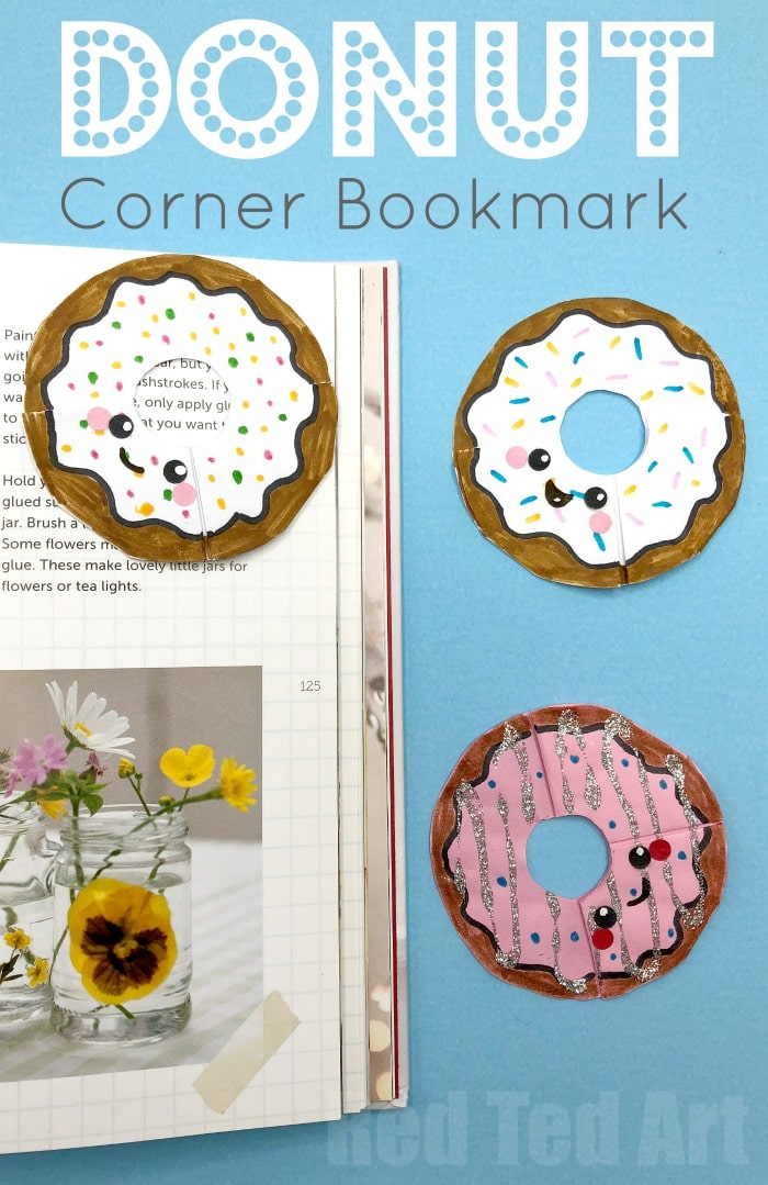 Donut Corner Bookmark Design. Kawaii Doughnut Bookmark. How to make an origami bookmark #bookmarks #donuts #cornerbookmarks