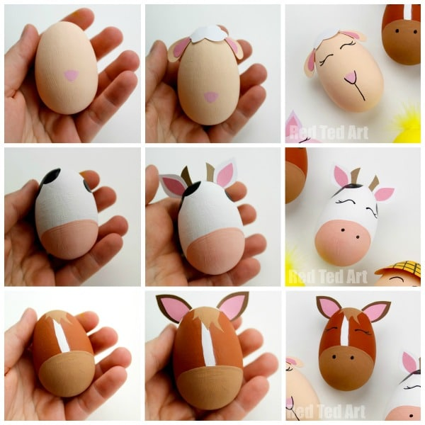 Old McDonald Had a Farm Egg Decorating Ideas! A fantastic Egg Decorating idea for Preschool - bring this classic Nursery Rhyme to life with these Farm Yard DIY Eggs. Also a great theme for a School Egg Decorating Competition! #eggs #eggdecorating #spring #easter #preschool #schooleggdecoratingcompetition #oldmacdonald