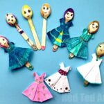 DIY Fashion Dolls from Wooden Spoons with Origami Dresses