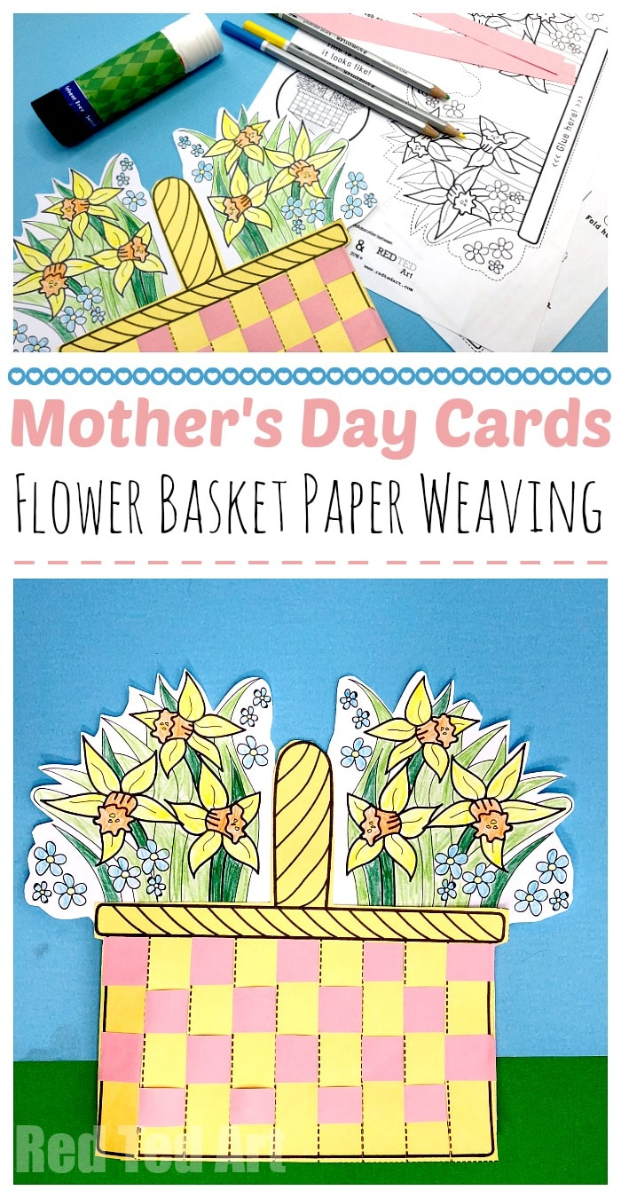 Mother's Day Flower Basket Paper Weaving Card - Paper Weaving Card Printables. Printable Mother's Day Cards. Flower Basket Weaving #printables #mothersday #flowers #paperweaving