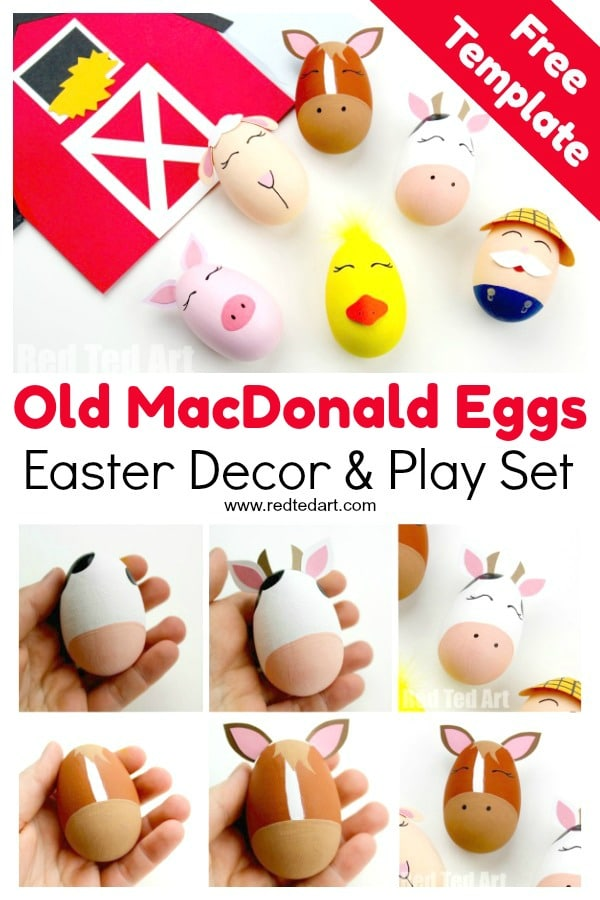 Old MacDonald Had a Farm Egg Decorating Ideas! A fantastic Egg Decorating idea for Preschool - bring this classic Nursery Rhyme to life with these Farm Yard DIY Eggs. Also a great theme for a School Egg Decorating Competition! #eggs #eggdecorating #spring #easter #preschool #schooleggdecoratingcompetition #oldmcdonald