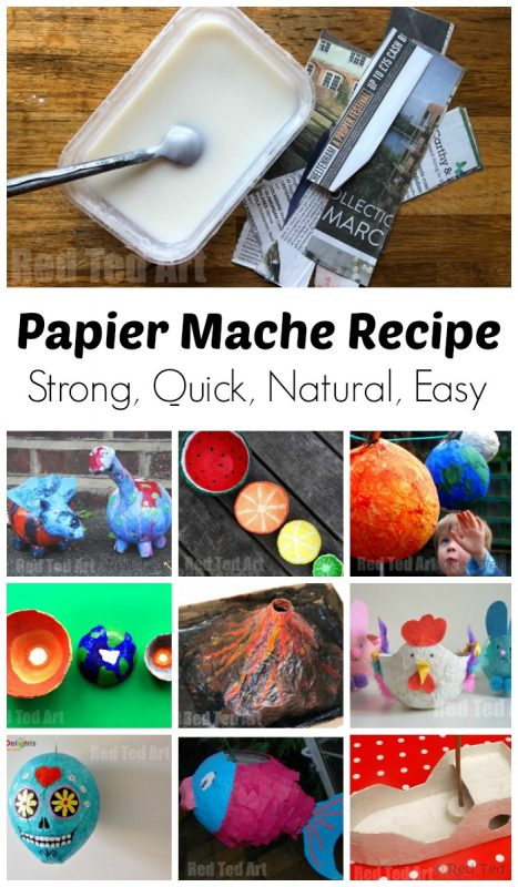 Collage of papier mache paste and paper mache projects for kids