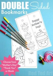 double sided cupcake bookmarks to print colour and a lovely tassle too mothers day