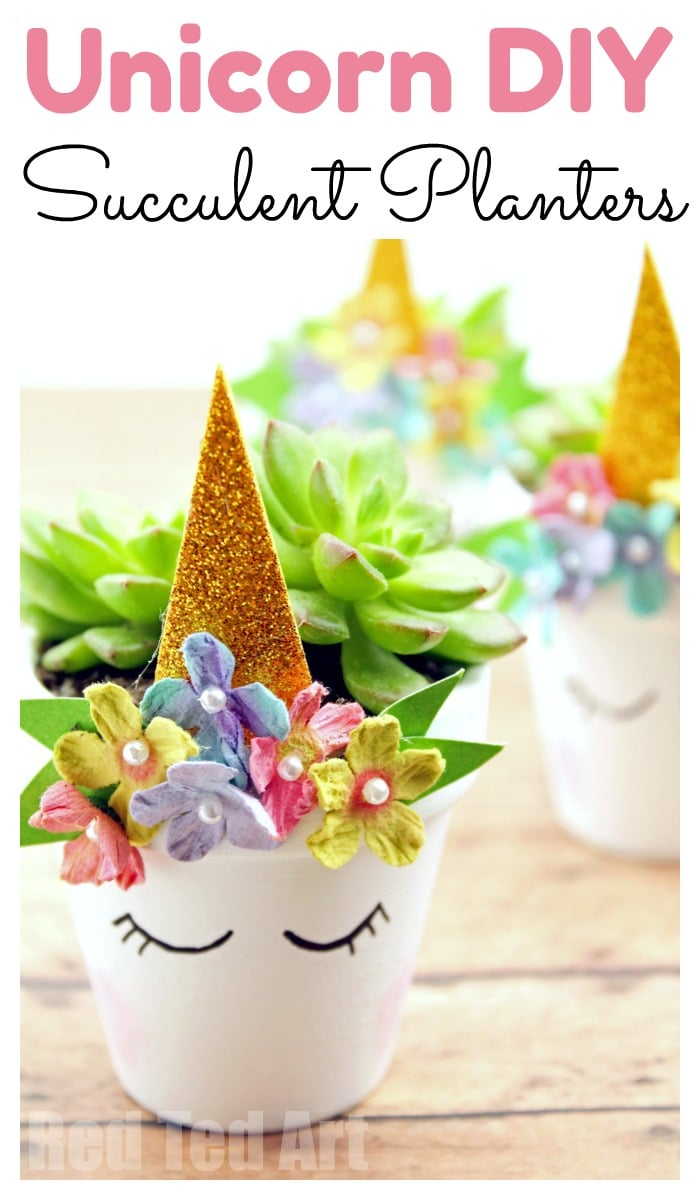 DIY Unicorn Succulent Planter! Cute and easy kids craft idea! #diy #kidscraft #unicorndiy #unicorn #unicorntheme #unicorncraft