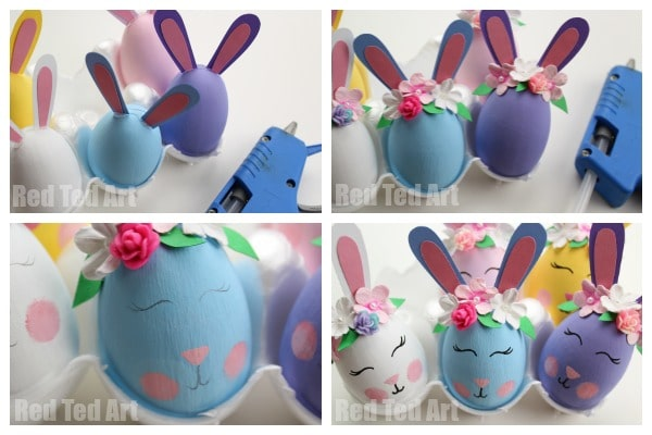 Easy DIY Bunny Eggs. Cute Spring Bunny Egg Decorations for Easter!! Love these Flower Bunny Egg Decorating idea. Easy and cute! Adorable Bunny Craft #easter #egg #eastereggs #easterbunny #bunny