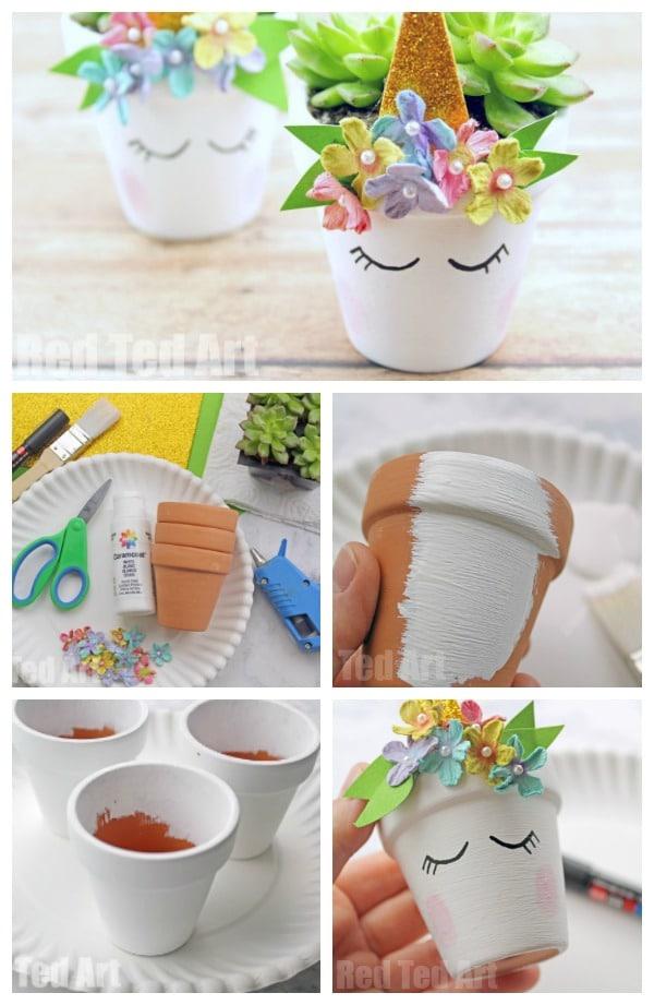 Unicorn Succulent Planter DIY. DIY Unicorn Planter. Unicorn DIYs. Unicorn Gift Ideas for Mother's Day or Teacher's Gifts. Succulent Crafts for kids #spring #mothersday #unicorns #giftideas