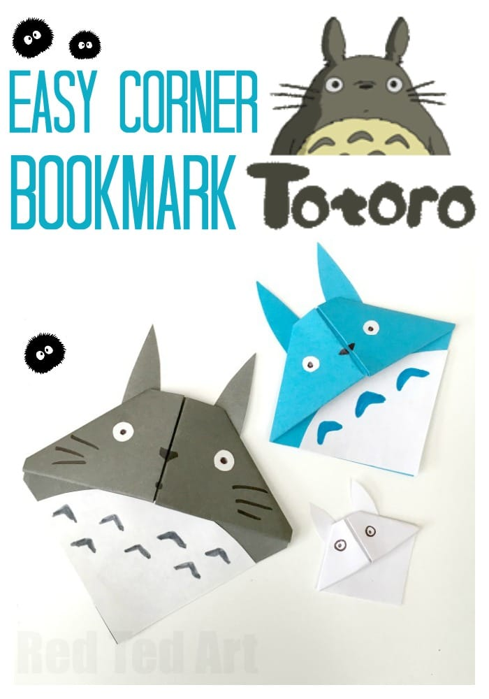 Totoro Corner Bookmark. My Neighbour Totoro. Calling all Totoro fans.. if you love the movie, you HAVE to make these cutest of cute Totoro Corner Bookmarks. Gorgeous Back to School and School Supply craft for middle school #backtoschool #schoolsupplies #cornerbookmark #bookmarks