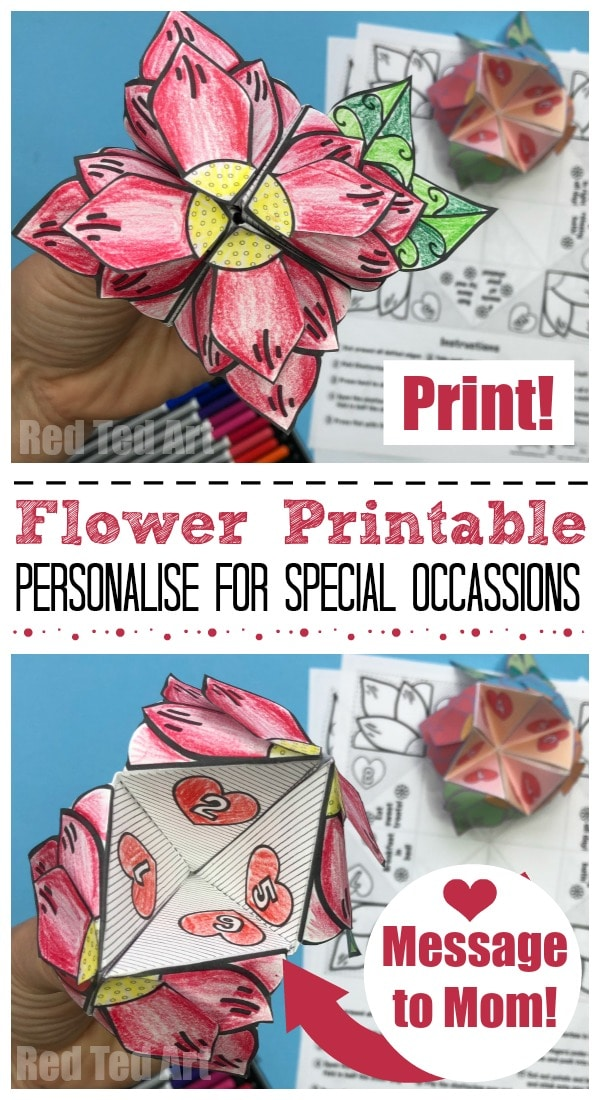 Mother's Day Flower Fortune Teller. A fantastic Mother's Day Printable. Free Resource for Teachers, Groups and Parents. Printable Flower Fortune Teller. How to make a Fortune Teller. Chatterbox and Cootie Catcher. Mother's Day Card Printable. Mother's Day Paper Crafts. Easy Mother's Day Ideas. Flower Printables.