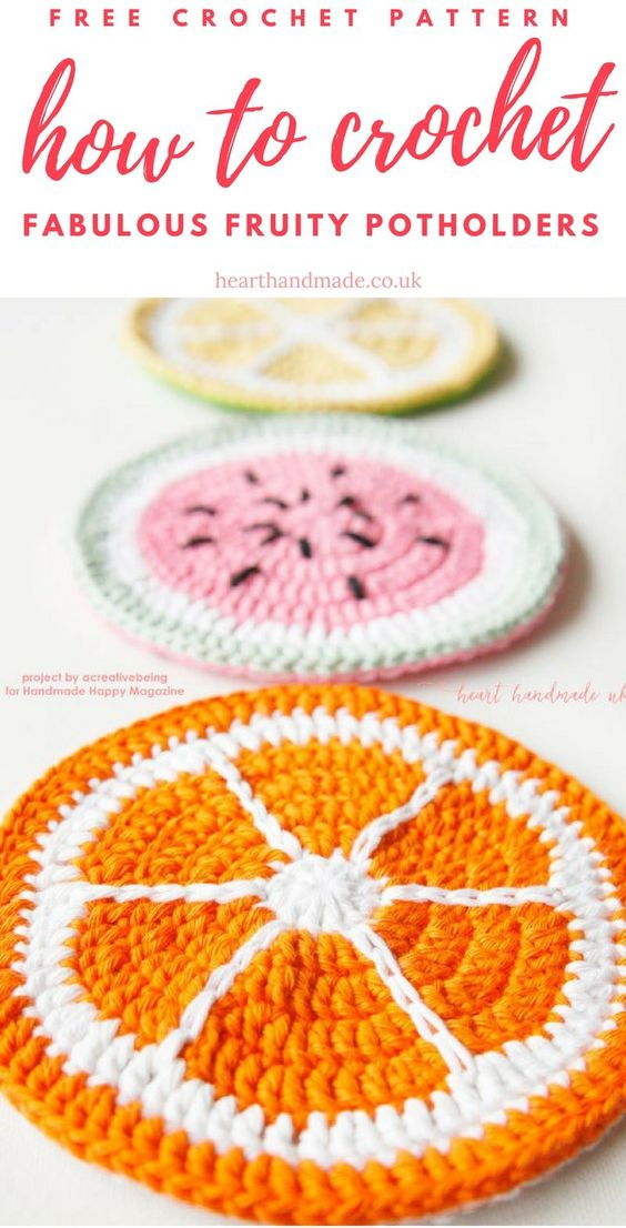 How to crochet a pot holder for summer. Summer fruits pot holder patterns. Tutti fruity pot holders #crochet #summer #patterns #melon #citrus #orange #lemon