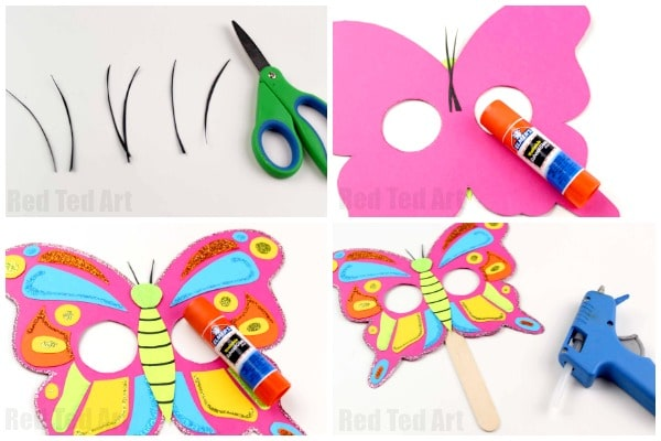 Butterfly Mask Printable - make these bright and cheerful Butterfly Masks - either assemble with card, or use the butterfly printable as a butterfly mask coloring page #butterflies #masks #printables #preschool