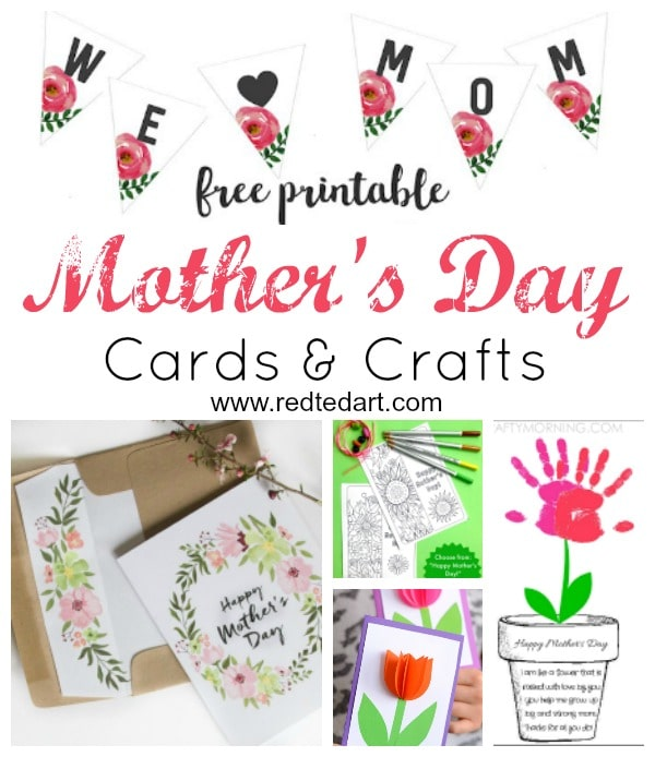 picture about Free Printable Mothers Day Crafts titled Printable Moms Working day Playing cards Crafts - Crimson Ted Artwork