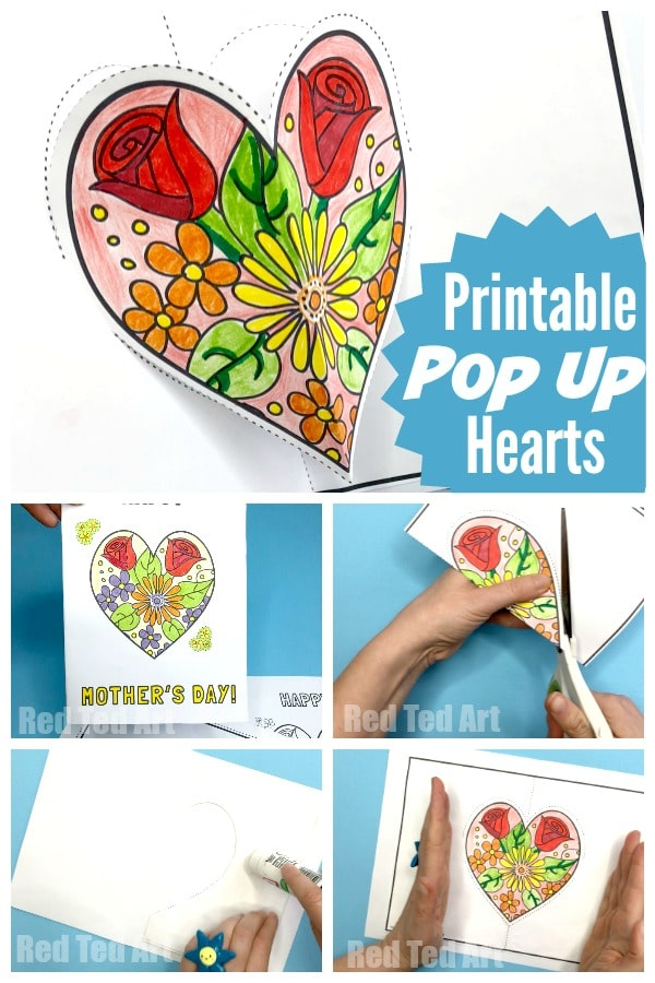 Pop Up Heart Printables for Mother's Day How lovely are these Flower Heart Cards? Just print, colour, snip and and assemble. So cute!! #mothersday #printable #cards #popup #heart