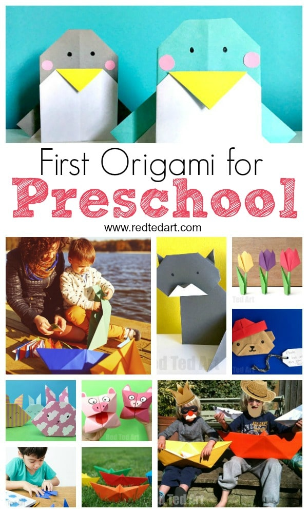 Preschool Origami. Origami for Preschoolers. Basic origami projects to start off young children. Great for dementia patients too. Get the benefits of origami with these great easy Origami Preschool projects #origami #preschool #preschoolers #papercrafts