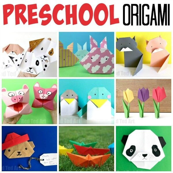 Collage of Origami Projects to make with Preschoolers and beginners