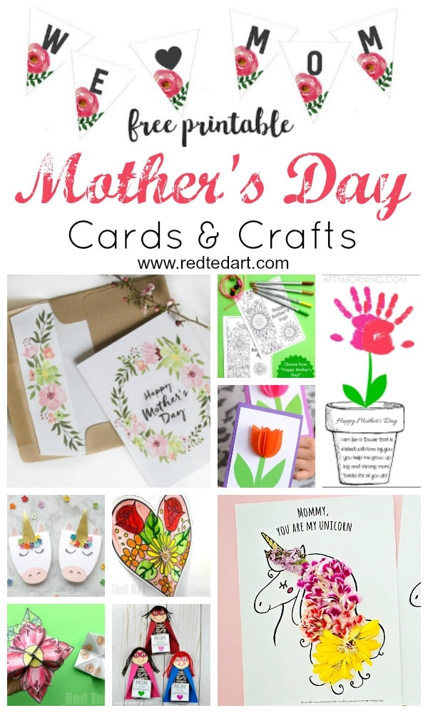 photo regarding Printable Mothers Day Cards for Kids named Printable Moms Working day Playing cards Crafts - Purple Ted Artwork
