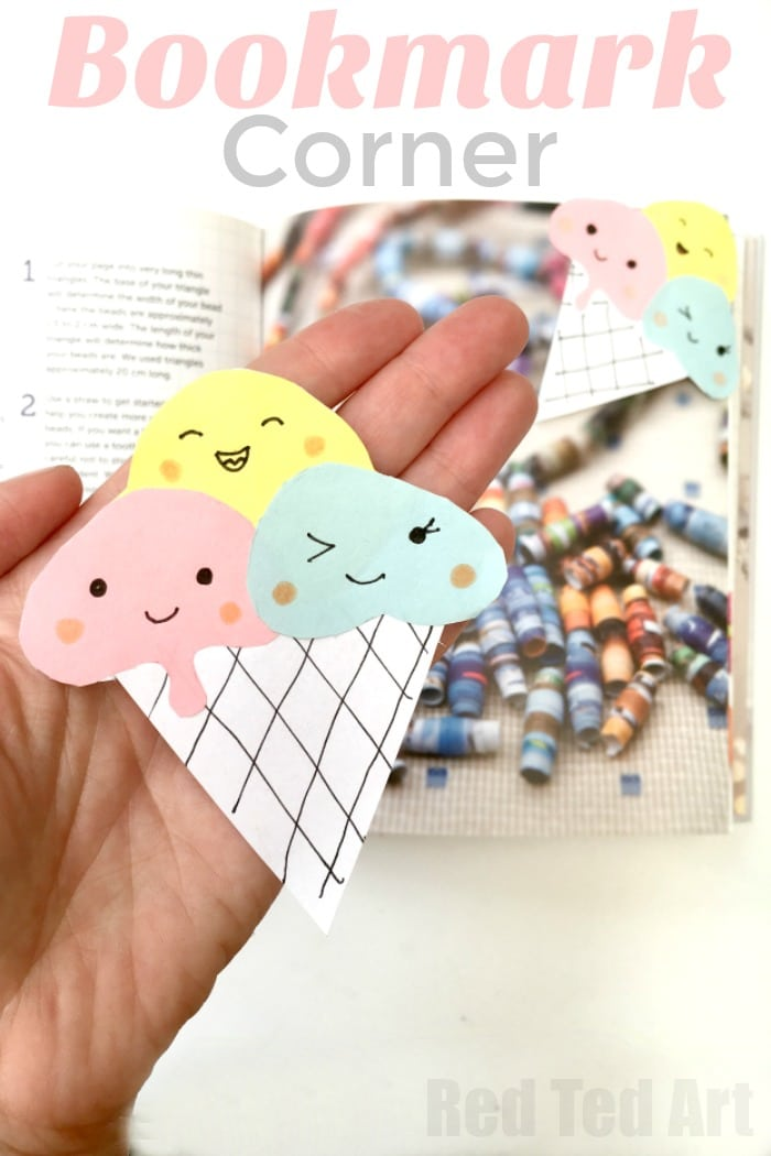 How to make an Ice Cream Bookmark Corner. Happy Summer Reading with these adorable Kawaii Ice Cream Corner Bookmarks. Learn how to make Origami Bookmarks and decorate them for Summer #cornerbookmarks #icecream #bookmarks #papercrafts #summer #summereading
