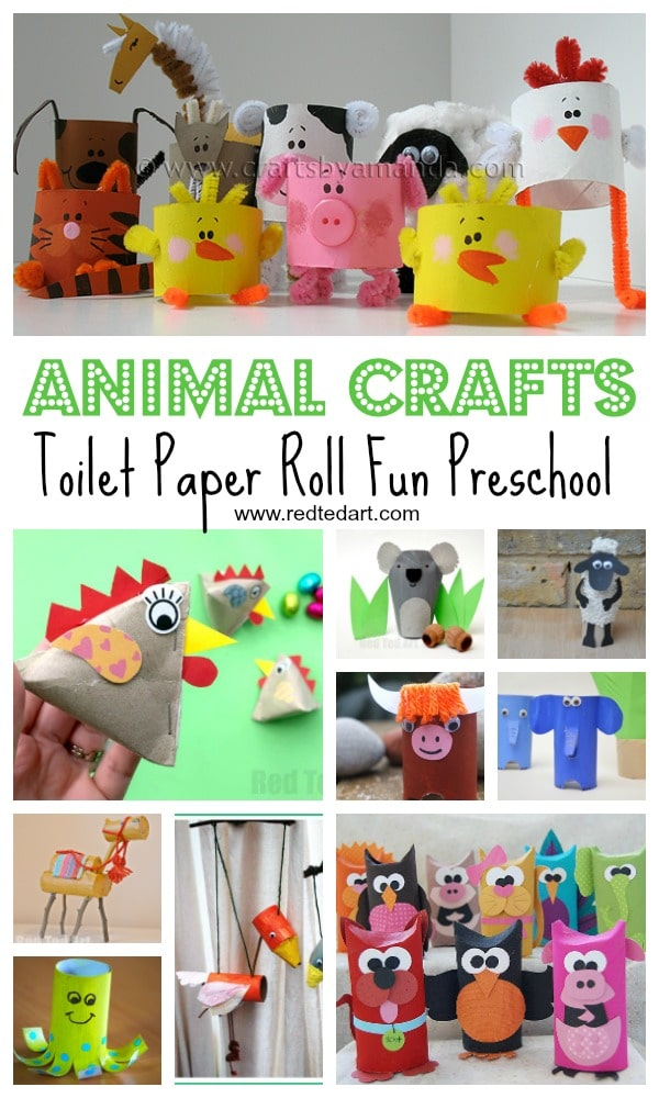 Toilet paper roll animal crafts for preschool, kindergarten and elementary school children - from Farm Animals, to Zoo Animals, to moveable puppets and Bunny Rabbits #toiletpaperrolls #animals #crafts #forpreschool #forkids
