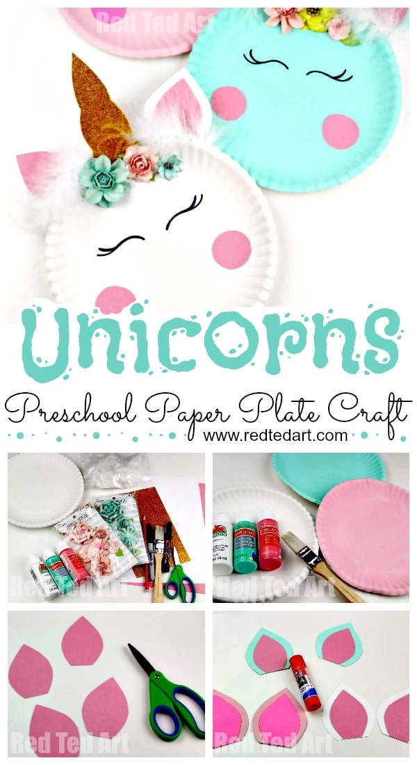 Paper Plate Unicorn Craft for Kids and Preschool. Adorable DIY Unicorn Paper Plates with free printable. Love these super cute Paper Plate Unicorn Craft! #preschool #foundation #unicorns #paperplates #templates