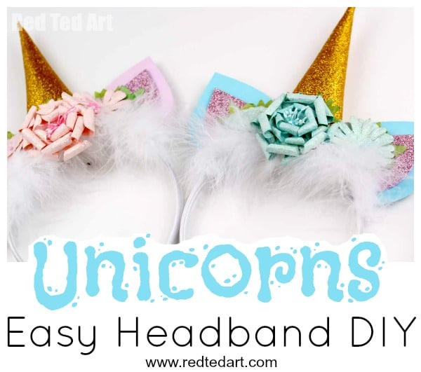 Uniconr Headband DIY - super easy no sew Unicorn Costume DIY. These Unicorn Headbands would also make great Unicorn Party Favours and are a great tween craft ideas this Summer #unicorns #party #costumes #halloween
