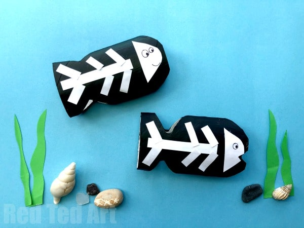 Toilet Paper Roll X-Ray Fish Craft - part of our Toilet Paper Roll Animal ABC Series. A great way to explore the alphabet with Preschoolers #toiletpaperrolls #animals #abc #preschool #xrayfish #xisfor