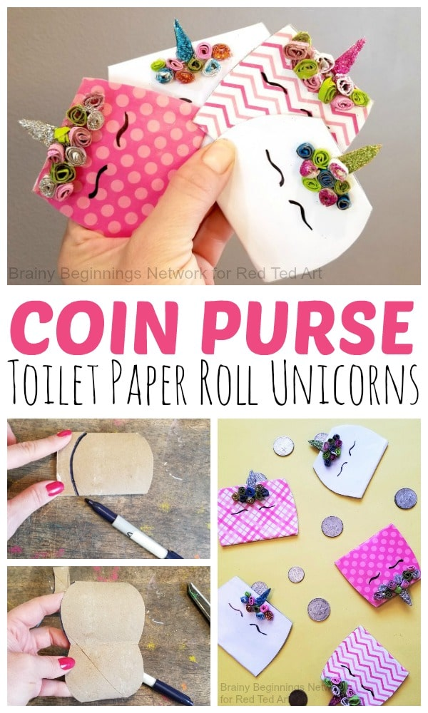 Unicorn Toilet Paper Roll Purse. Upcycle a Toilet Paper Roll into this fun and unique Unicorn Purse DIY! #unicorn #purse #toiletpaperroll
