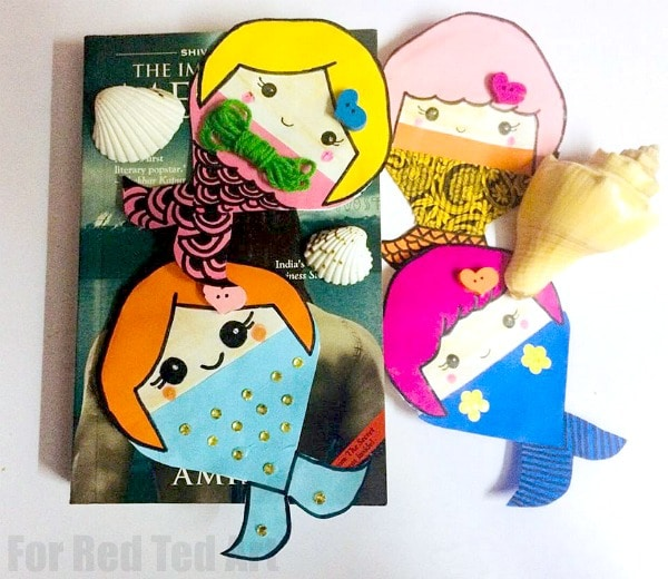 Mermaid Corner Bookmark Design. Magical DIY Mermaid Bookmark Craft. Paper Mermaid Bookmark Corner for Summer and Little Mermaid Fans! #mermaids #bookmarks #cornerbookmarks #summer