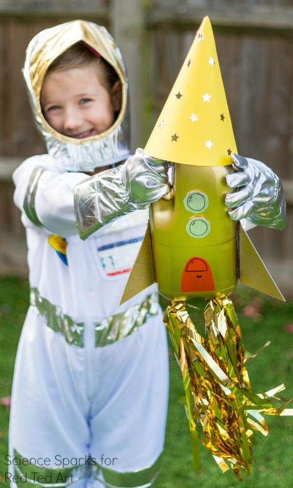 Recycled Rocket Craft from Science Sparks - Create your own mini Rocket Scientists with this down to earth Rocket Science Book (and sample craft) activity for kids. The best ROCKET SCIENCE STEAM book for kids on the market. Science made easy. Perfect for #homeschooling #ece and #teachers #science #STEAM #rocketscience #forkids