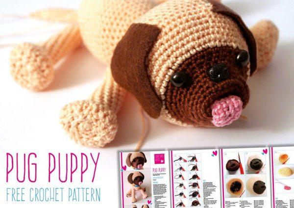 Free Pug Crochet Pattern. How to crochet a Pug Toy. Pug Toy Crochet Pattern. Amigurumi Pug#patterns #free #pug #crochet
