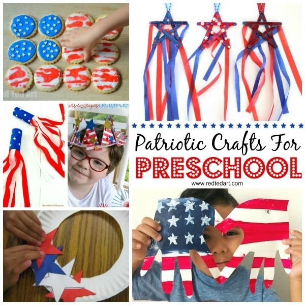 Collage of Patriotic Crafts suitable for Toddlers. Includes toddlers crafting in red white and blue