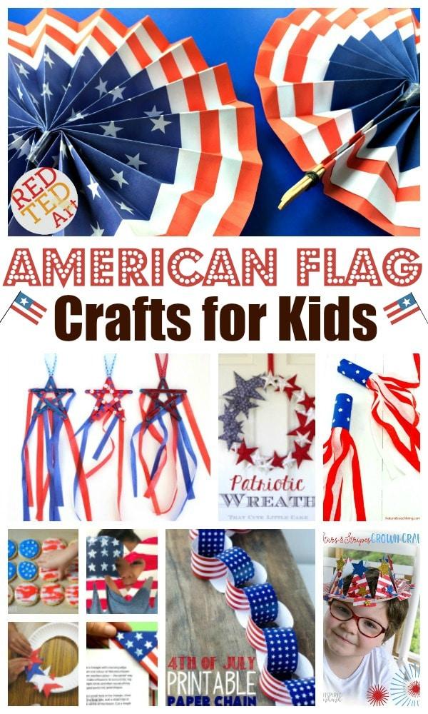 Collage of American Flag Crafts for kids - red white and blue crafts. Includes images of kids crafting.