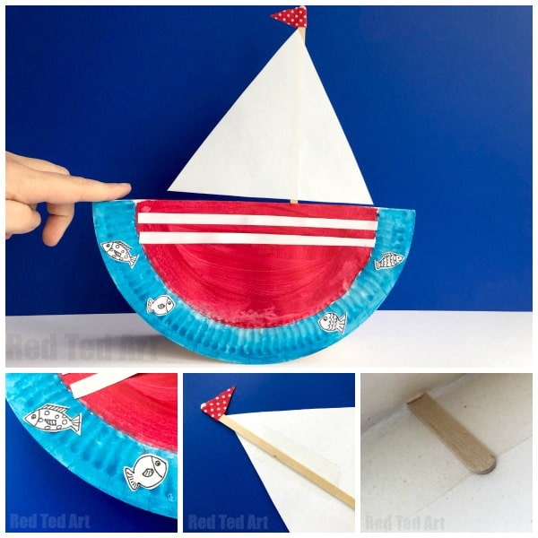 Rocking Paper Plate Boat Red Ted Art