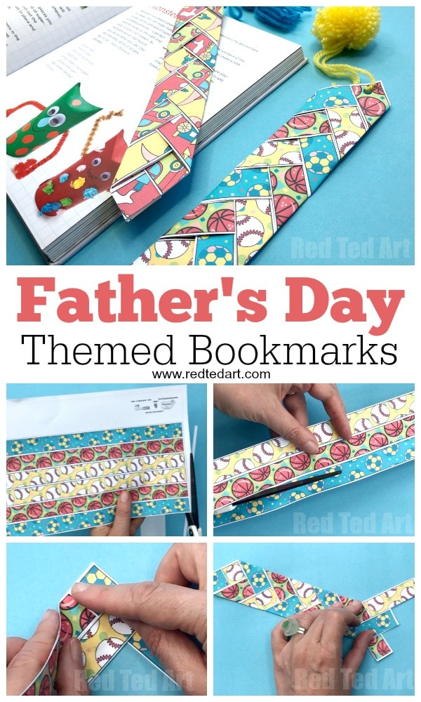 Paper Weaving Printable Father's Day Bookmark - Free Printable Father's Day Craft for kids. Easy Father's Day Gift Idea #fathersday #bookmark #printable #kids
