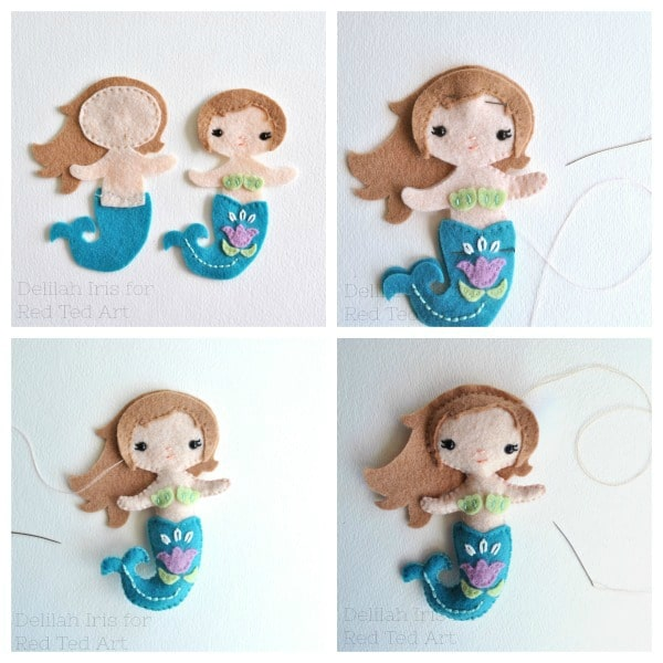 Little Mermaid Doll Pattern - make this lovely Felt Mermaid Doll with our Free Doll Pattern by Delilah Iris . Felt Doll, sewing with kids #felt #sewing #doll #mermaids #summer