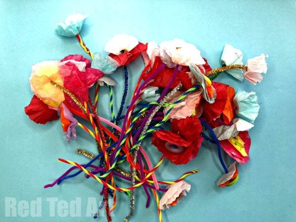 Tissue paper flower bouquet red ted arts blog primary school teachers wedding bouquet made by children tissue paper flower bouquet by kids mightylinksfo