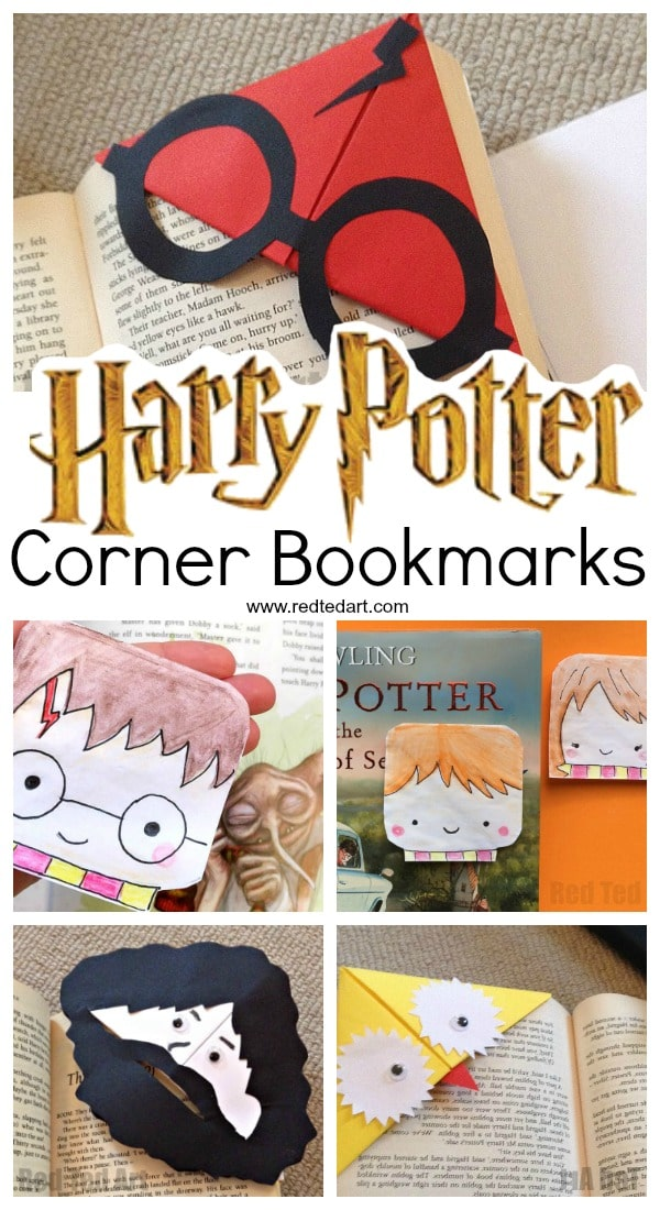 image about Harry Potter Bookmark Printable known as Harry Potter Corner Bookmarks - Crimson Ted Artwork