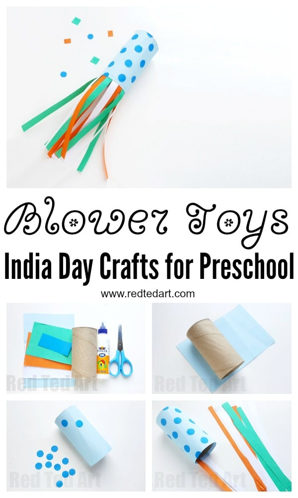 Preschooler Blower Craft for India Republic Day. How to make a blower. Best out of waste India Republic Day Crafts. Toilet Paper Roll Blower Craft Tricolour. #indiaday #indepenceday #indianflag #toiletpaperroll #blowers