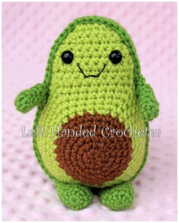 Free Crochet Avocado Pattern - oh my! Learn how to crochet this Toy Avocado Friend. Isn't he the absolute CUTEST EVER!! Free Crochet Pattern for Kawaii Avocado Lovers #kawaii #avocado #crochet #patterns #free