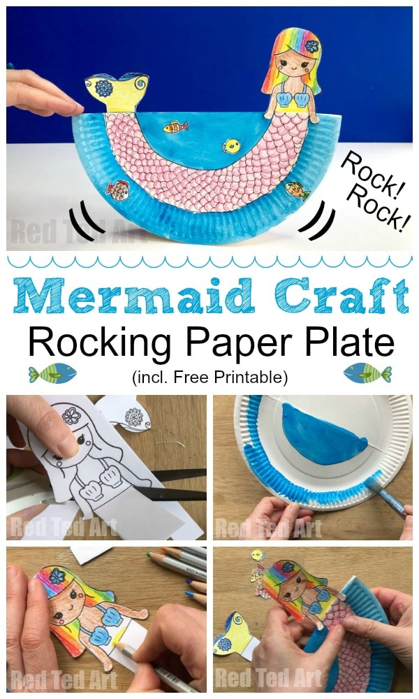 Rocking Paper Plate Mermaid Craft for Preschool. With free Mermaid Printable. Love these rocking mermaids. Aren't they adorable? Great Ocean craft this summer #mermaid #preschool #printables #paperplates